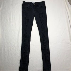 cURRENT ELLIOTT DISTRESSED LOW-RISE SKINNY JEANS